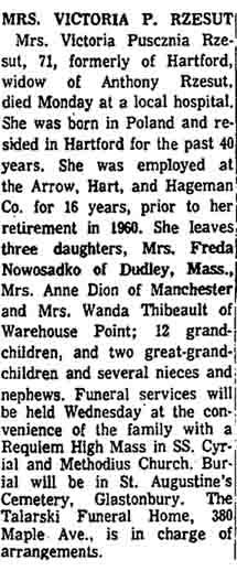 Victoria Puscizna Rzesut Obituary  - 1966
